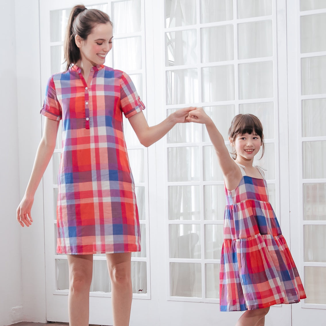 Plaid Party Cotton Mommy-and-Daughter Matching Dress