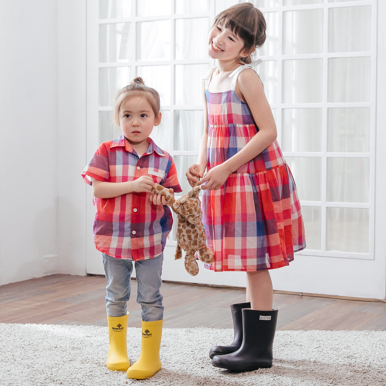 Plaid Party Cotton Sister/brother Matching Dress/Shirt