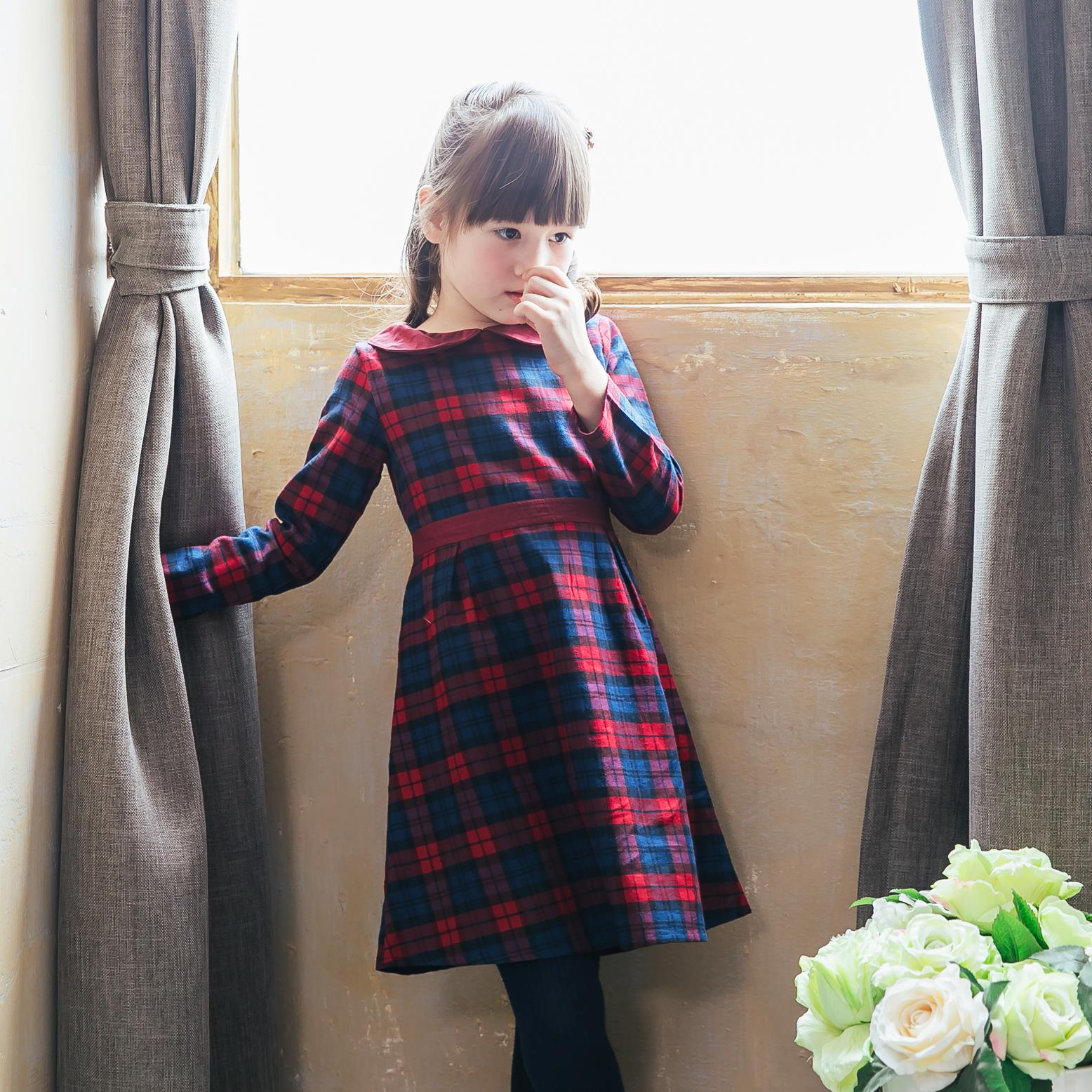 Girl Navy/Red plaid dress