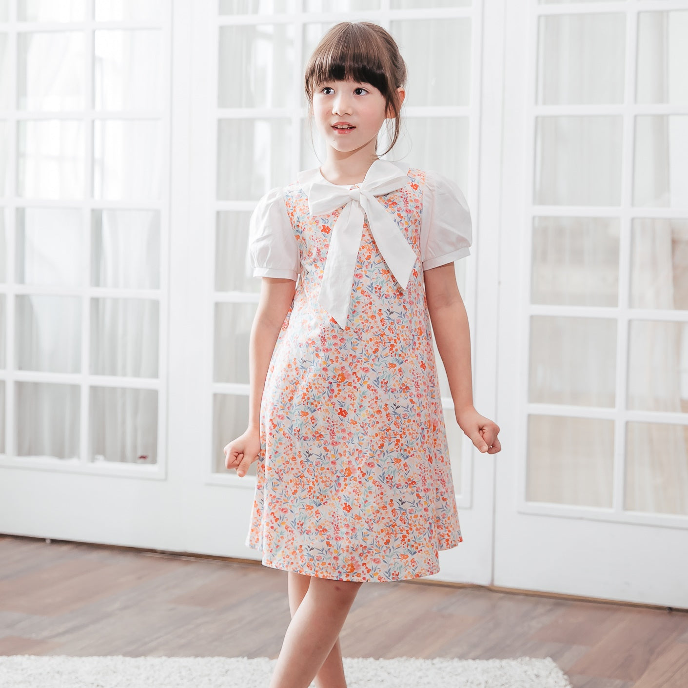 Sweet Vanilla Cotton A-line Girl Dress