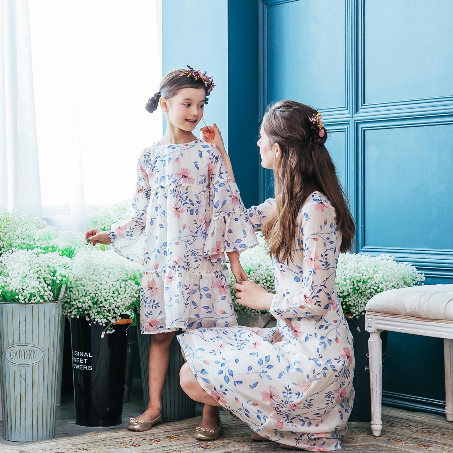 (Mommy & Me) Floral midi dress (set of 2)
