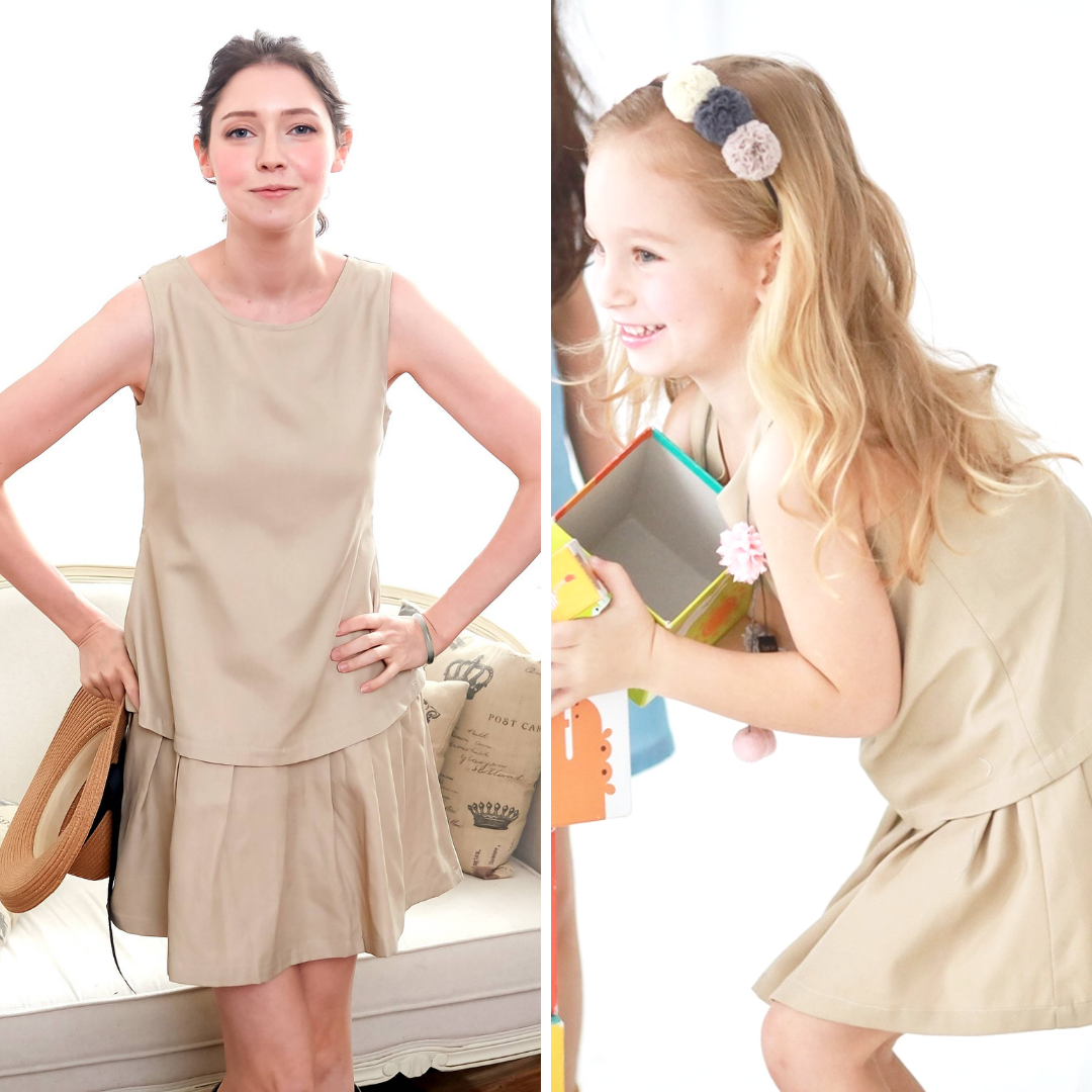 (Mommy & Me) Elegant sleeveless dress (set of 2) Brown Version