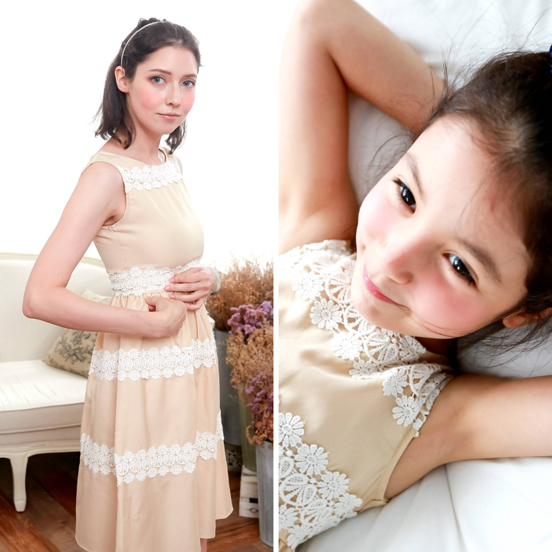 (Mommy & Me) Elegant embroidered dress (set of 2) Beige Version