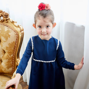 (Girl) Tip the Scallops Navy Blue Dress - Bunny n Bloom Mommy & Me Dress