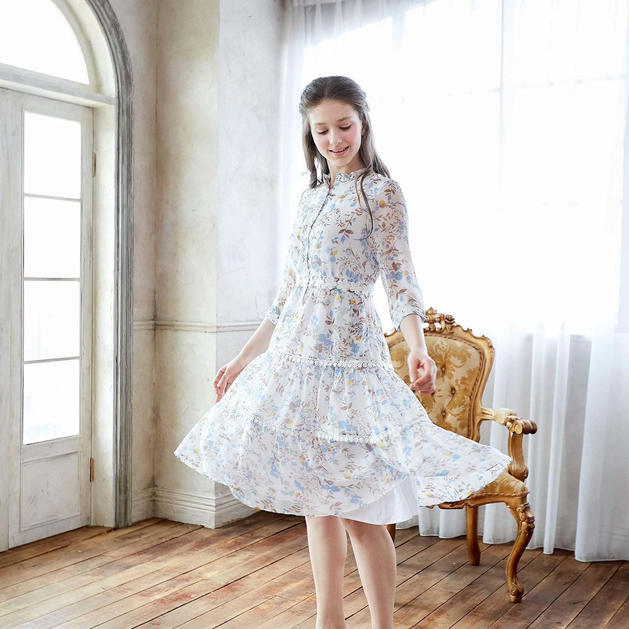(Woman) Bouquet Blooms Cream Floral Print Chiffon Midi Dress - Bunny n Bloom Mommy & Me Dress