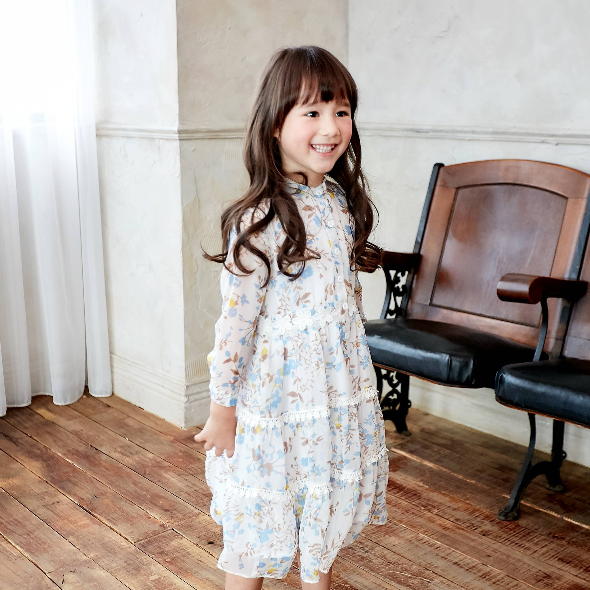 (Girl) Bouquet Blooms Cream Floral Print Chiffon Midi Dress - Bunny n Bloom Mommy & Me Dress