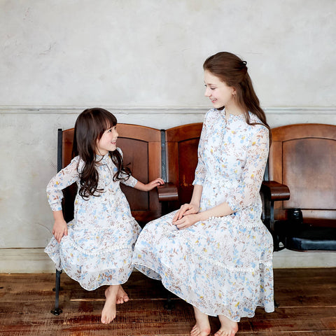 (Mommy & Me) Bouquet Blooms Cream Floral Print Chiffon Midi Dress (set of 2) - Bunny n Bloom Mommy & Me Dress