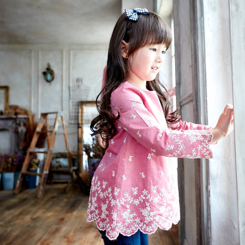 (Girl) Marsala Red 100% Cotton Scalloped Embroidered Top - Bunny n Bloom Mommy & Me Dress