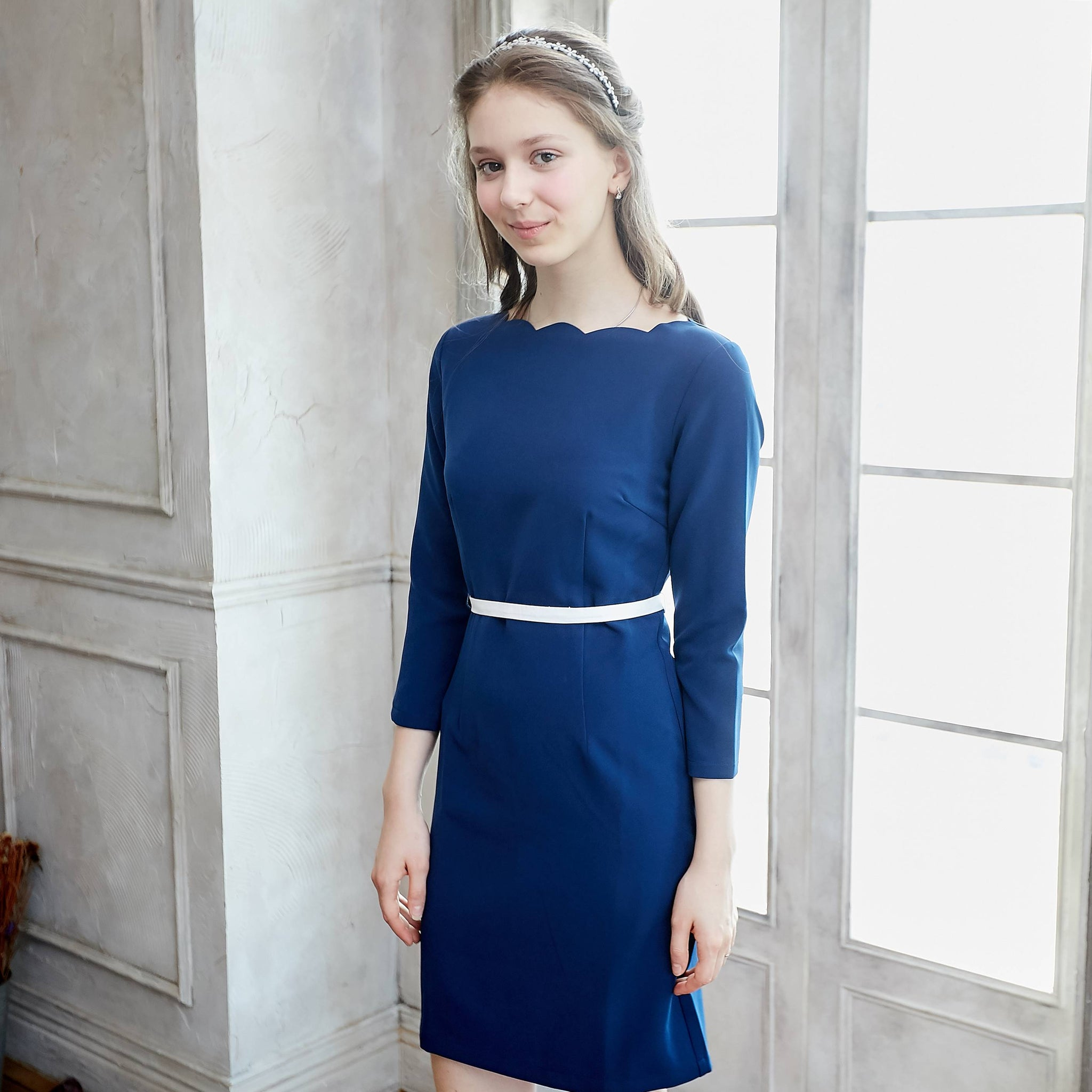 (Woman) Tip the Scallops Navy Blue Dress (Two removable self-tie sashes included) - Bunny n Bloom Mommy & Me Dress