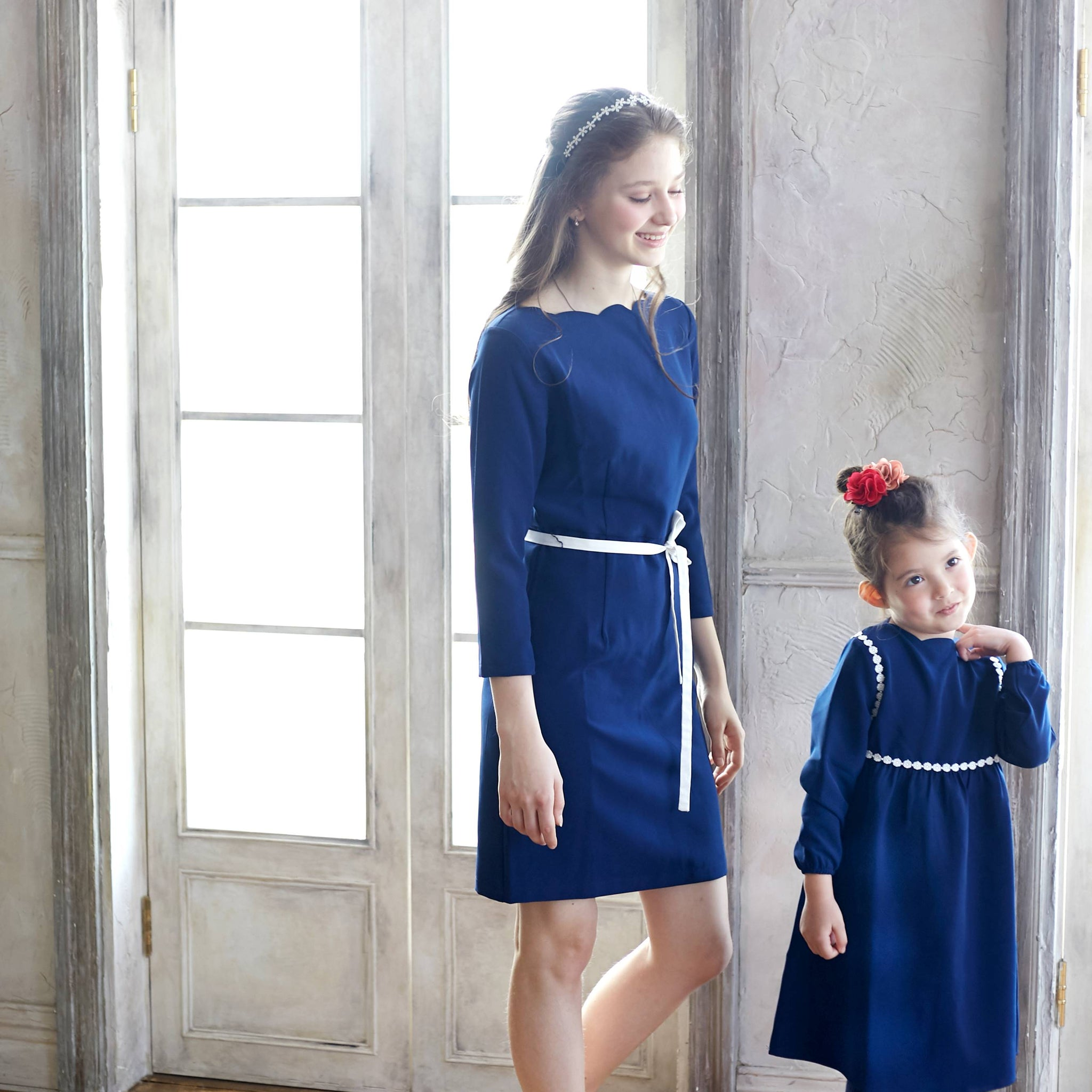 (Mommy & Me) Tip the Scallops Navy Blue Dress - Bunny n Bloom Mommy & Me Dress