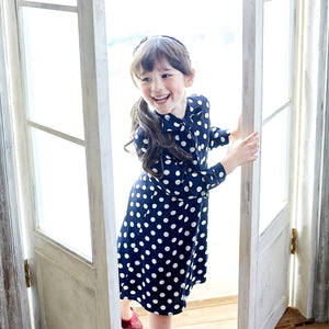 (Girl) Blue & White Polka Dot Long Sleeve Fit & Flare Dress - Bunny n Bloom Mommy & Me Dress