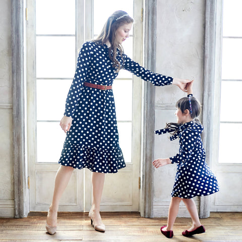 Blue & White Polka Dot Long Sleeve Fit & Flare Dress - Bunny n Bloom Mommy & Me Dress