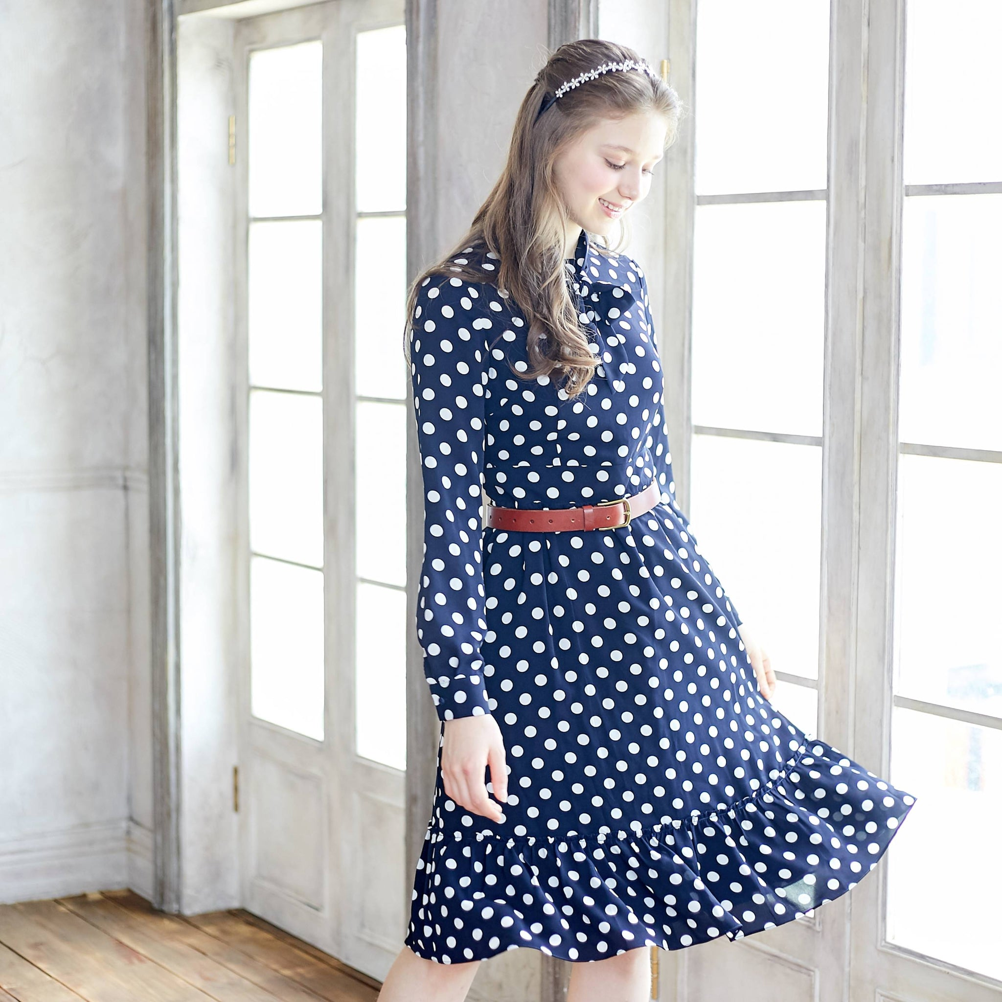 (Woman) Blue & White Polka Dot Long Sleeve Fit & Flare Dress - Bunny n Bloom Mommy & Me Dress