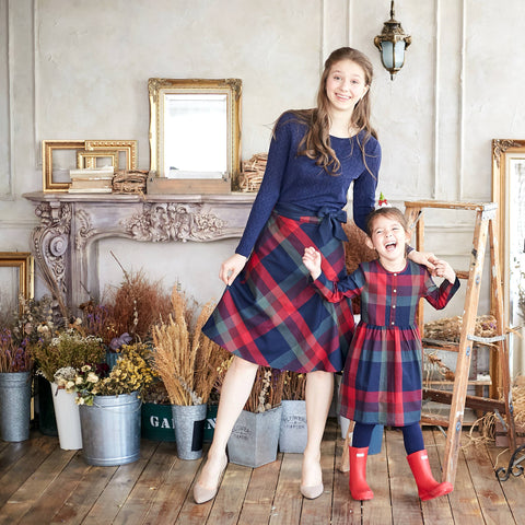 (Mommy & Me) Plaid Cotton Fit-n-Flare Skirt/Dress - Bunny n Bloom Mommy & Me Dress