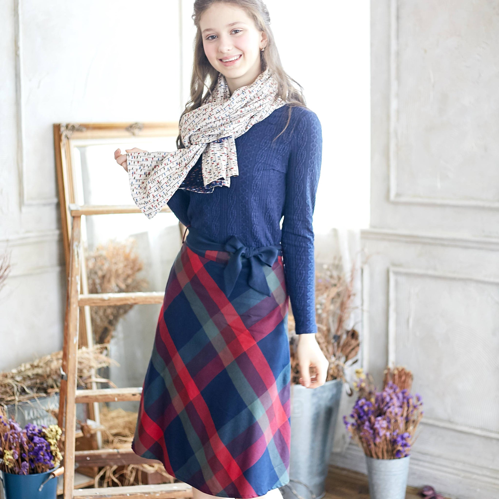 (Woman) Plaid Cotton Midi Skirt - Bunny n Bloom Mommy & Me Dress