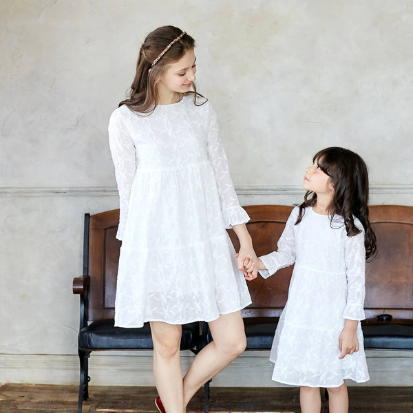 (Mommy & Me) Snow embroidered dress  (set of 2) - Bunny n Bloom Mommy & Me Dress