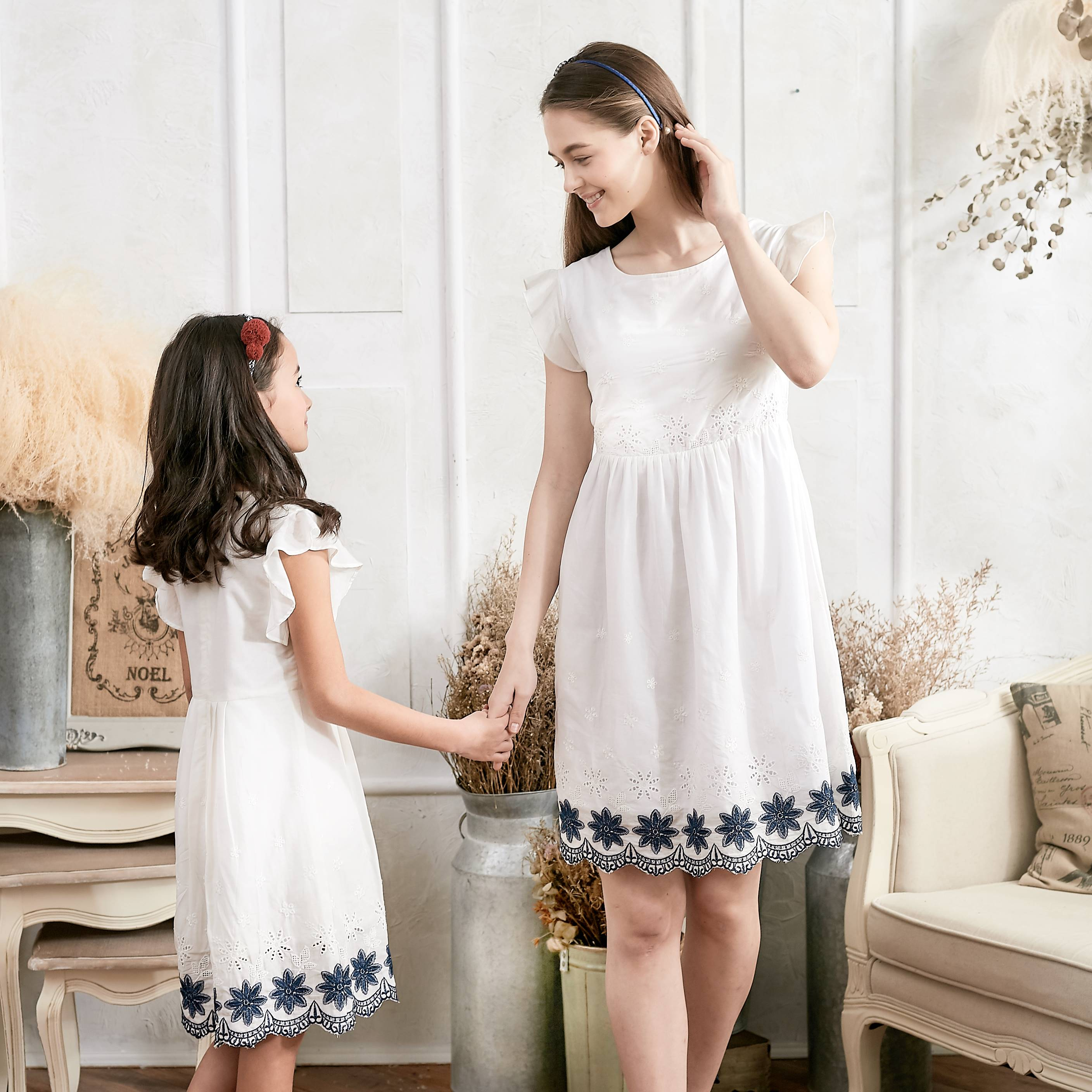 (Mommy & Me) Floral Embroidered Fit & Flare Dress (set of 2) - Bunny n Bloom Mommy & Me Dress