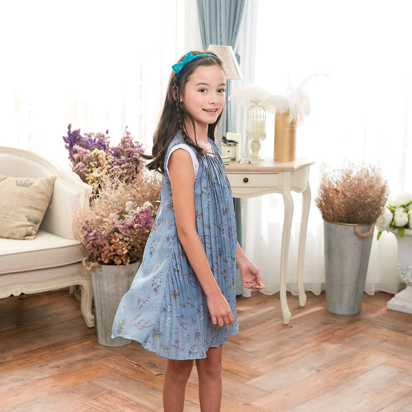 Blue Floral Dress (toddler/girl) - Bunny n Bloom Mommy & Me Dress