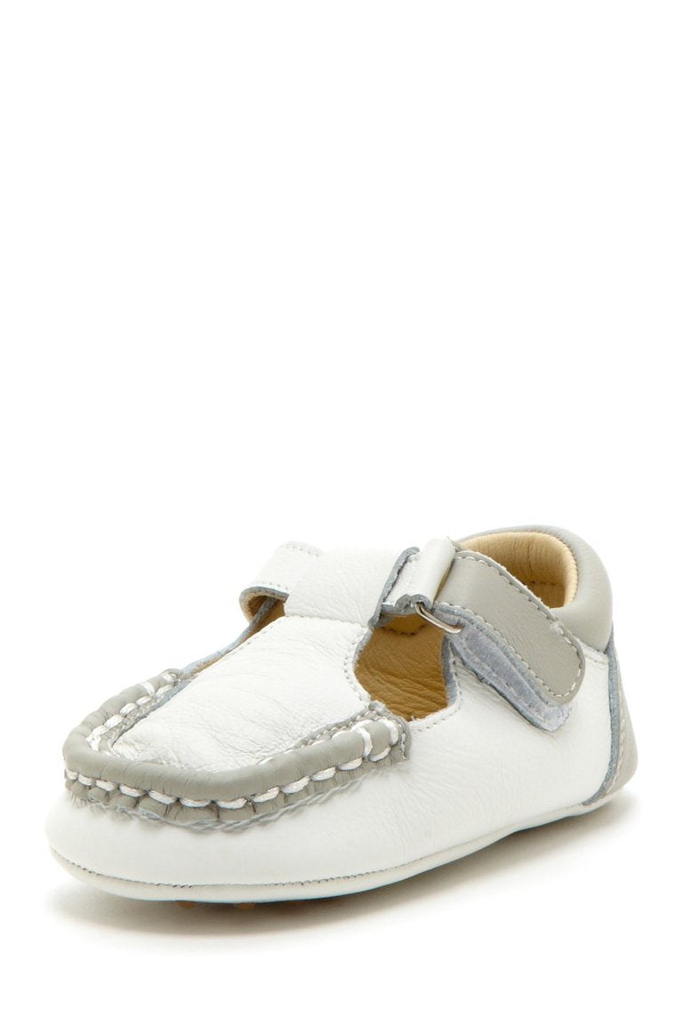 Light Gray Colorblock T-Strap Loafers - Petit Confection