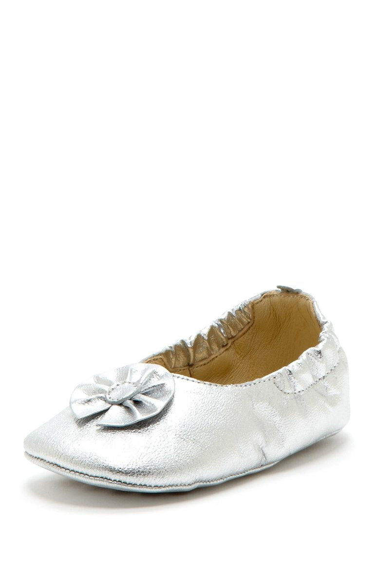 Silver Flower Elastic Flats - Petit Confection