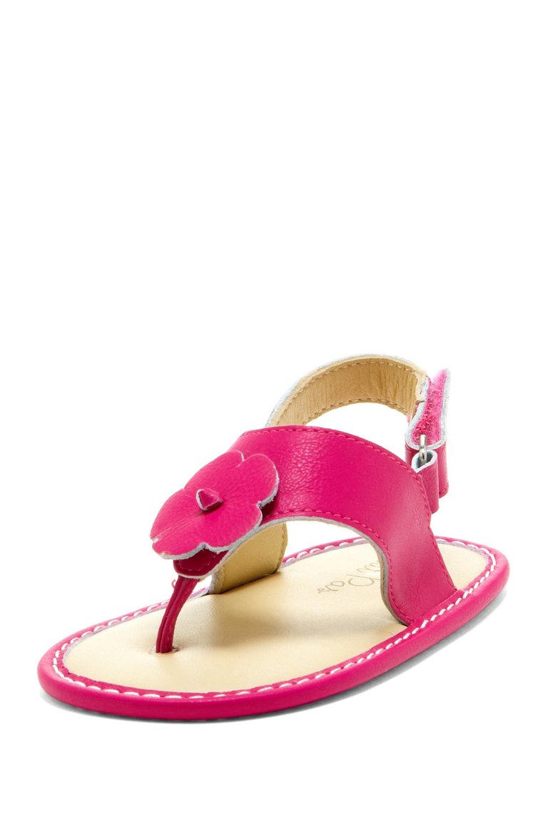 Hot Pink Hibiscus Applique Sandals - Petit Confection