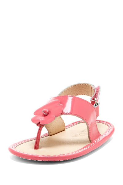 Coral Hibiscus Applique Sandals - Petit Confection