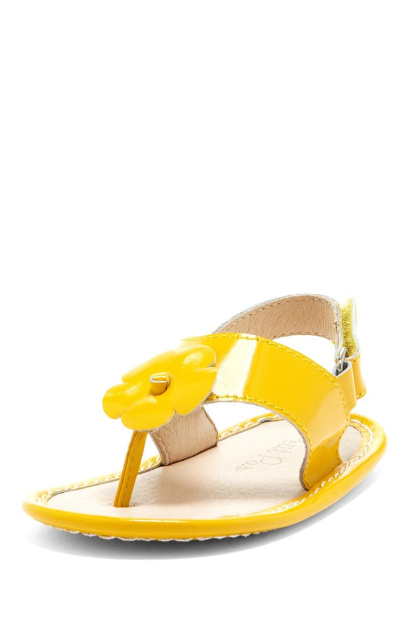 Yellow Hibiscus Applique Sandals - Petit Confection
