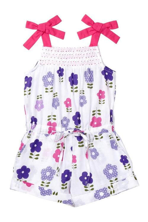 Magenta Daisy Strappy Romper - Petit Confection