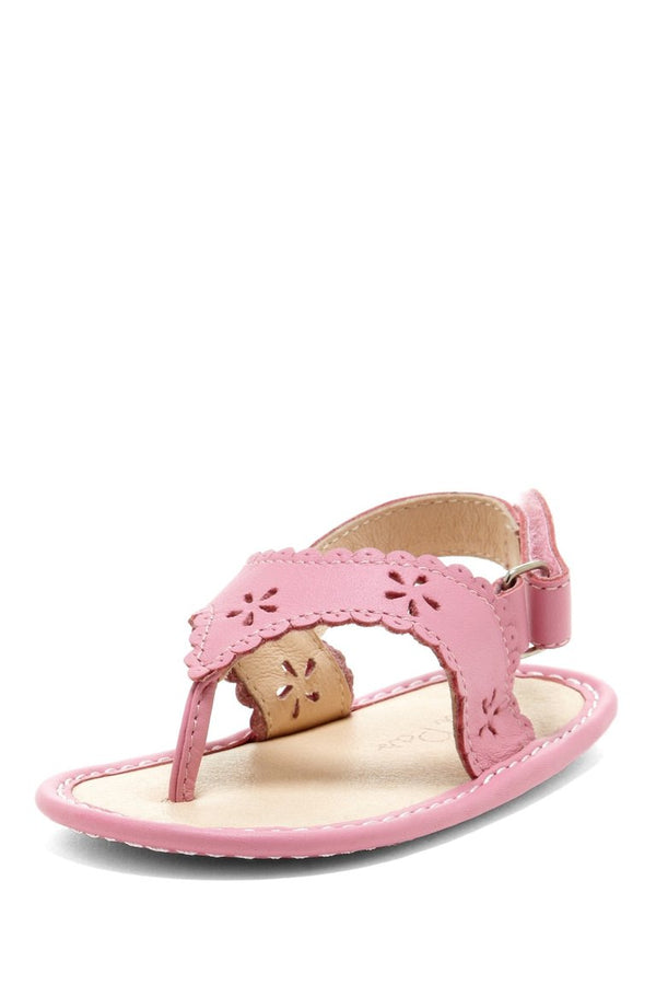 Pink Eyelet Scalloped Sandals - Petit Confection