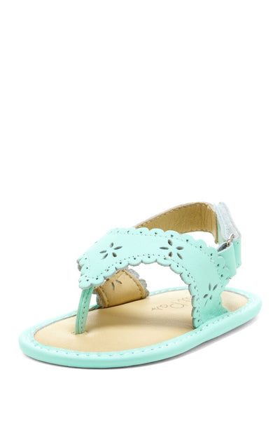 Mint Green Eyelet Scalloped Sandals - Petit Confection