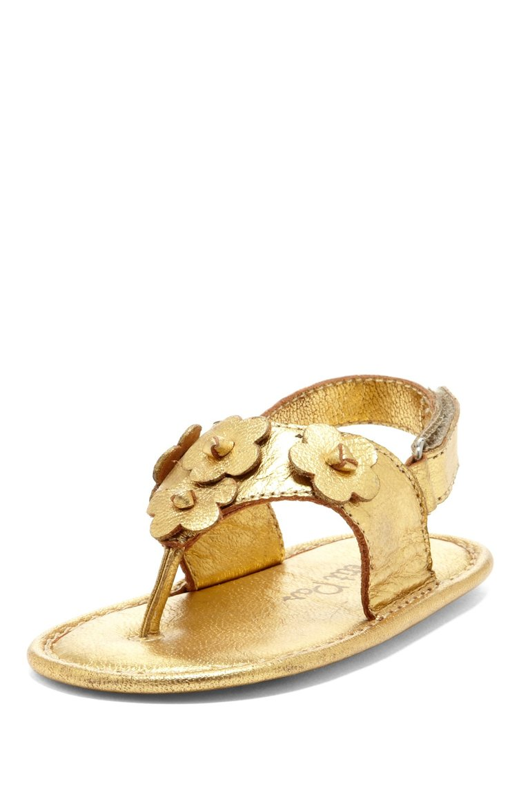 Gold Daisy Applique Sandals - Petit Confection