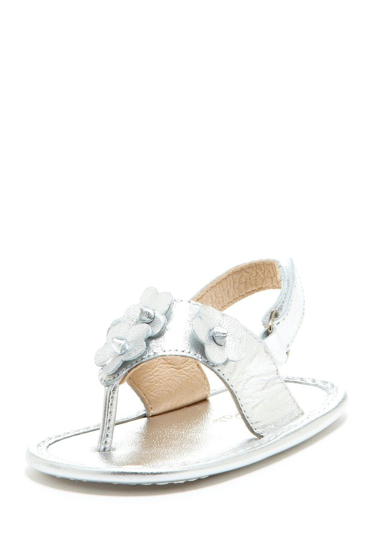 Silver Daisy Applique Sandals - Petit Confection