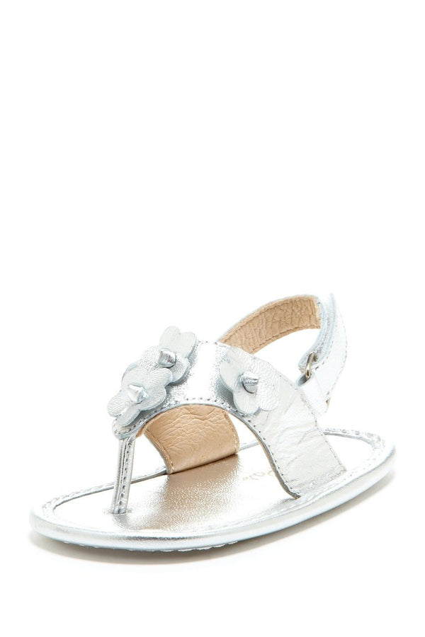 Silver Daisy Applique Sandals