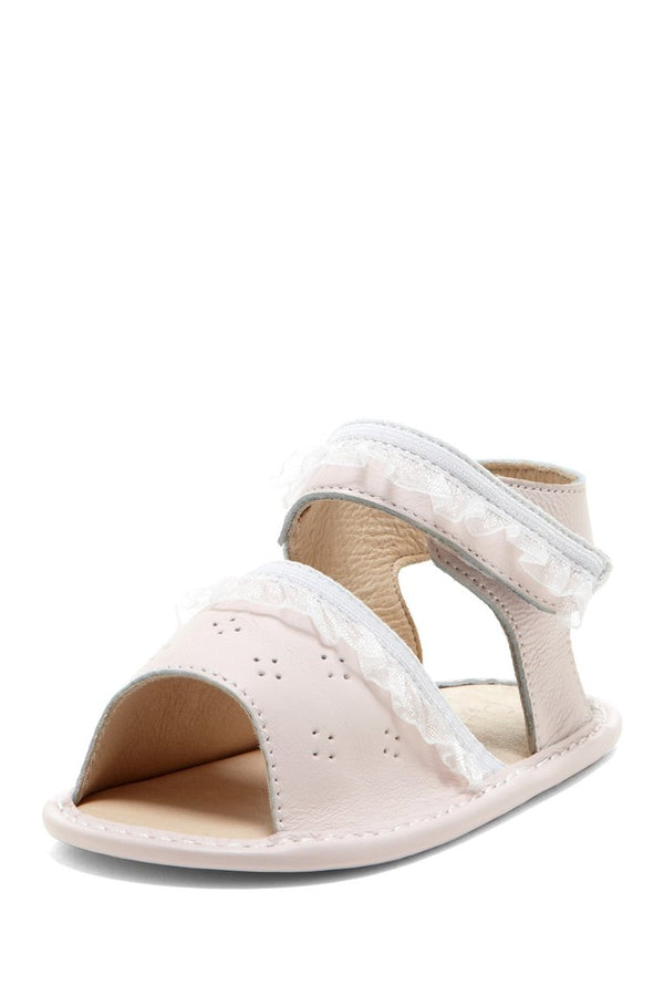 Pale Pink Eyelet Ruffle Sandals - Petit Confection