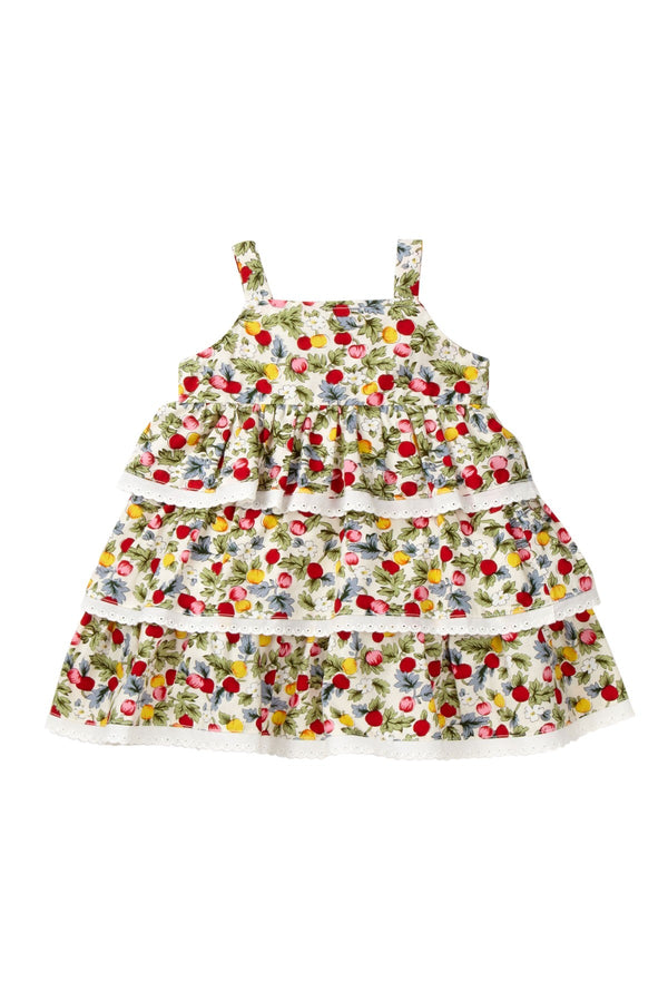 Berry Print Ruffle Tiered Dress - Petit Confection
