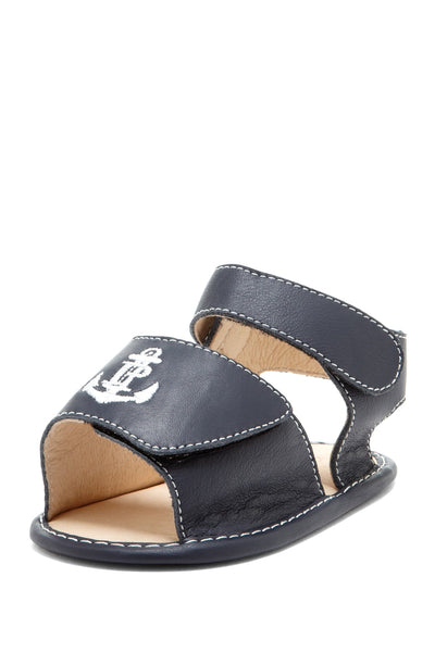 Navy Anchor Embroidered Sandals - Petit Confection