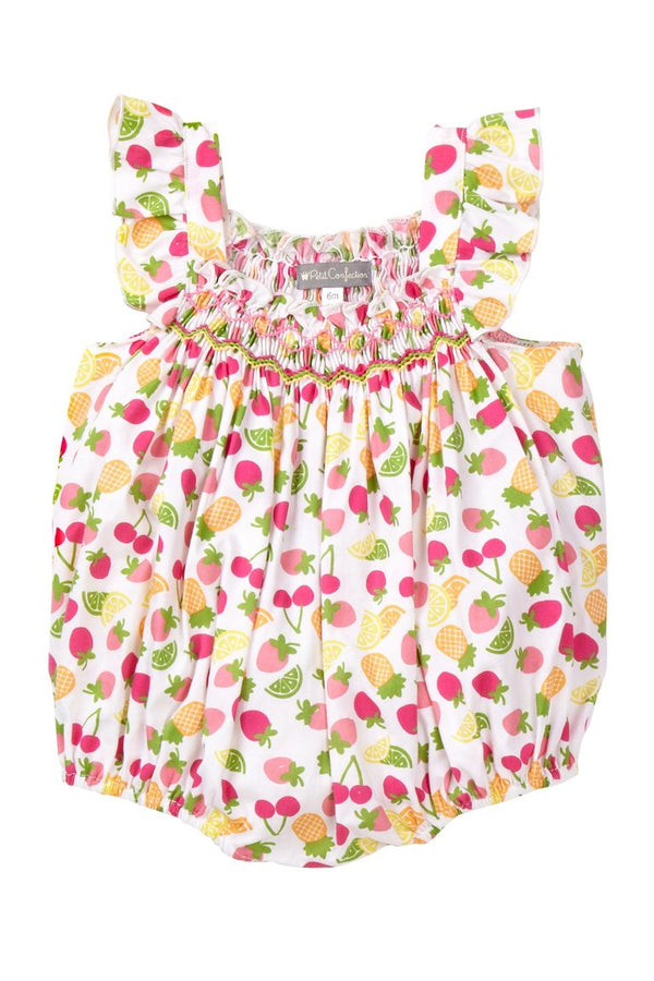 Fruit Print Smocked Bubble