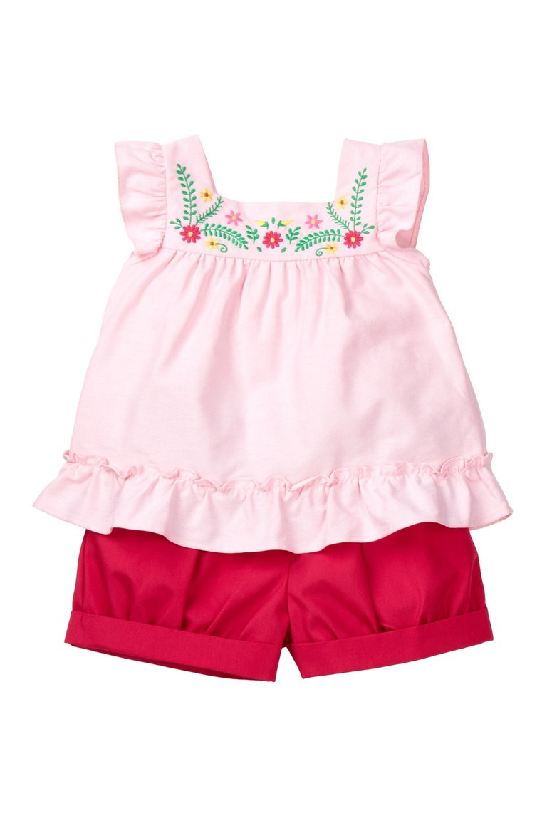 Pink Flower Embroidered Top Set