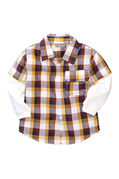 Yellow Plaid Layered Shirt - Petit Confection