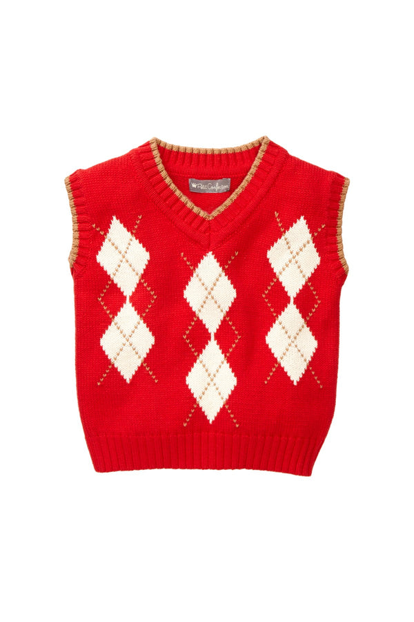Red Argyle Knit Vest