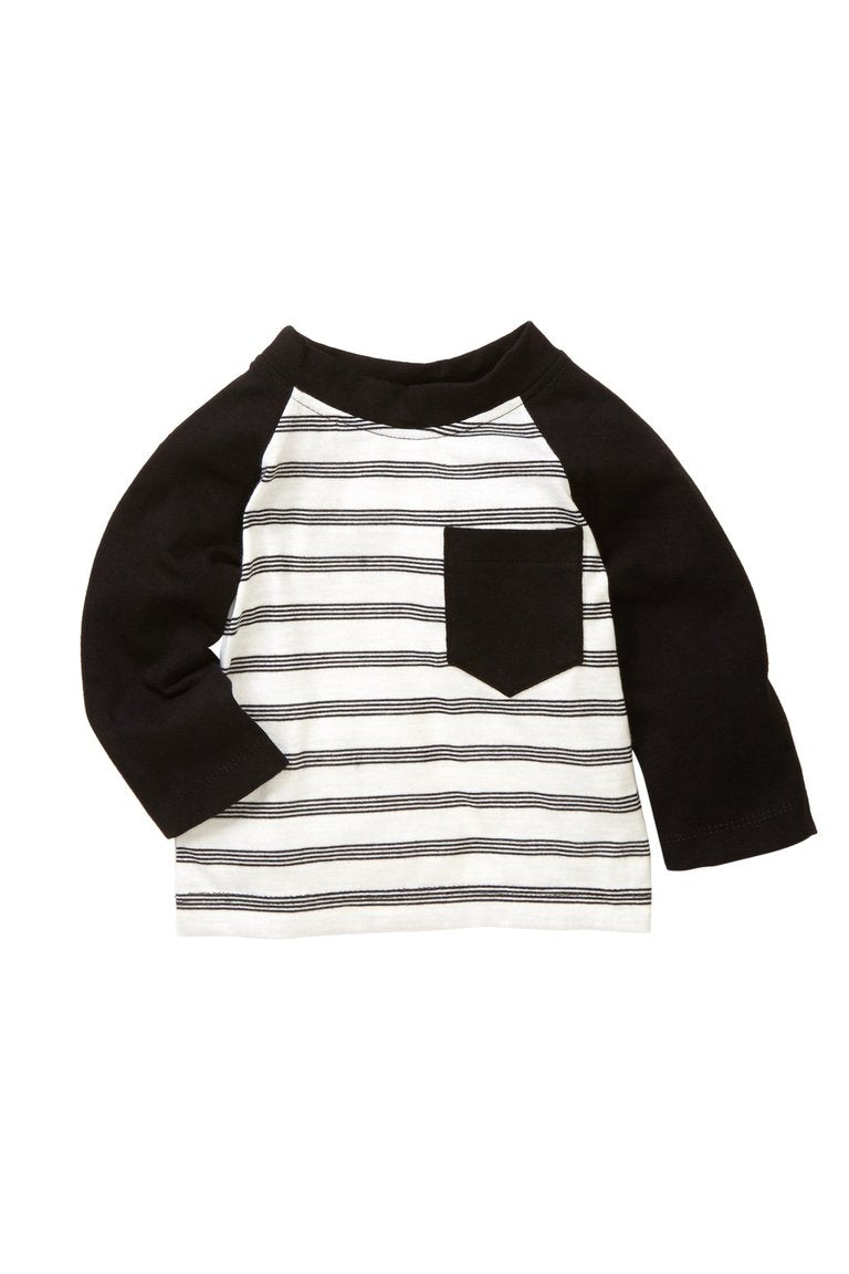 Black Striped Pocket Tee - Petit Confection