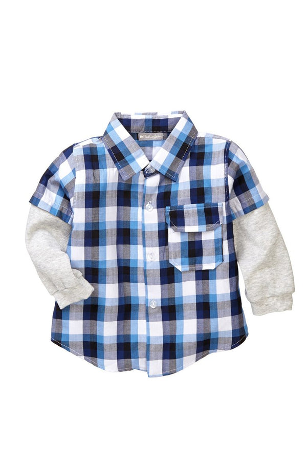 Blue Plaid Layered Shirt - Petit Confection