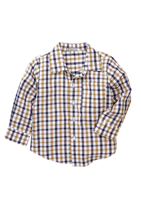 Gold Checkered Button-Down Shirt