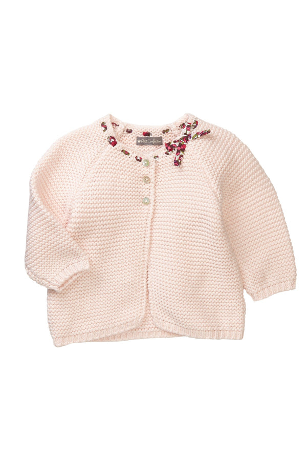 Blush Floral Ribbon Cardigan - Petit Confection