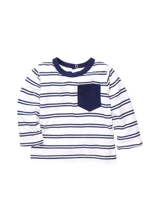 Navy Striped Pocket Tee