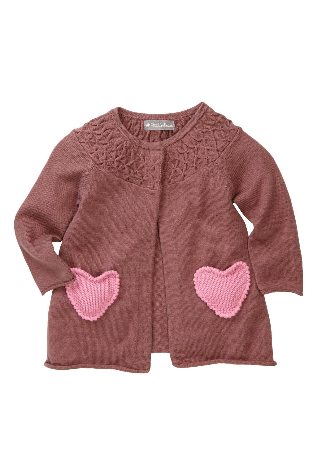 Taupe Hearts Pocket Cardigan - Petit Confection
