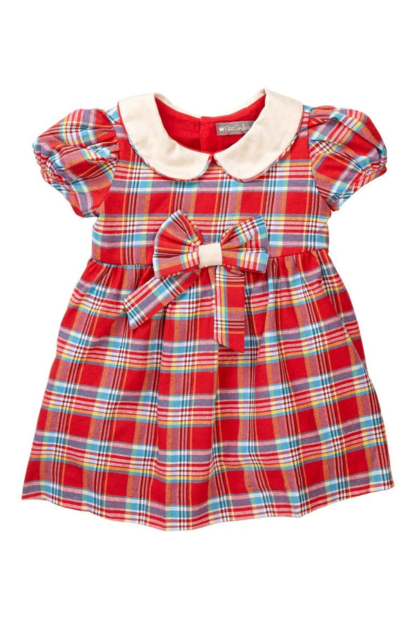 Red Plaid Bow Dress - Petit Confection
