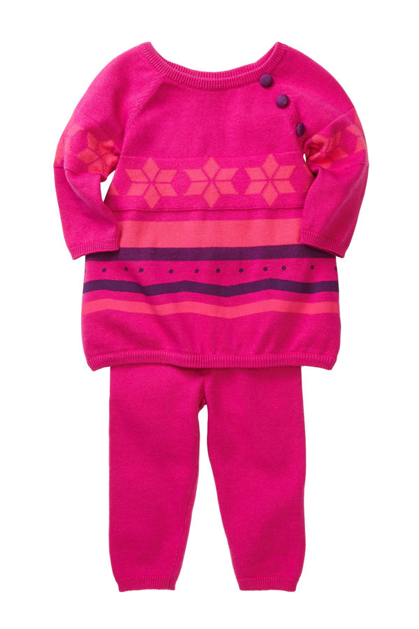 Fuschia Poinsettia Knit Set