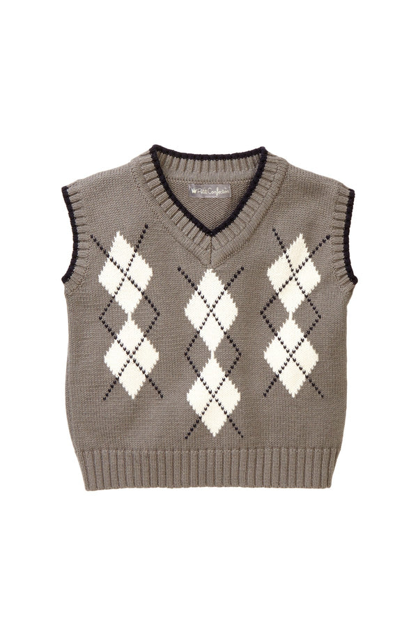 Gray Argyle Knit Vest