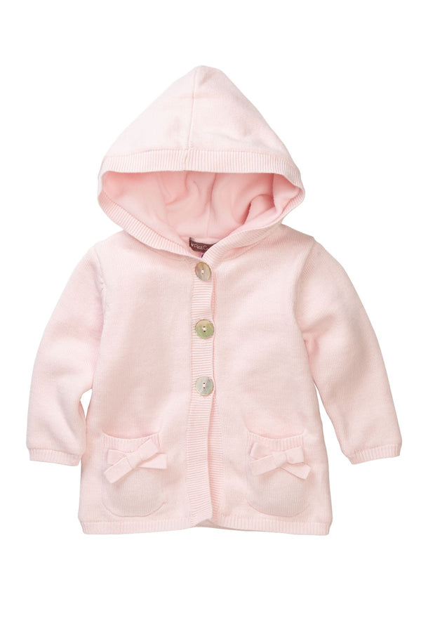 Blush Bow Pockets Hooded Coat